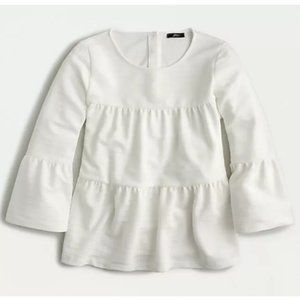 J. Crew white tiered button back bell sleeve shirt